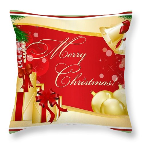 Christmas Throw Pillow featuring the digital art Merry Christmas Greeting With Gifts Bows And Ornaments by Taiche Acrylic Art