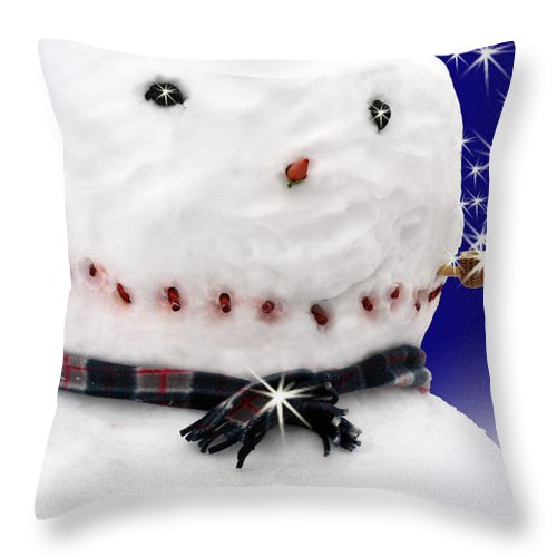 Christmas Throw Pillow featuring the digital art Merry Christmas Snowman by Cathy Beharriell