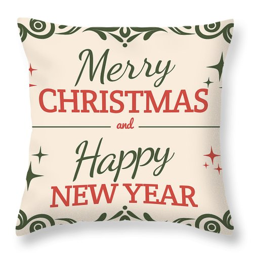 Merry Christmas Vintage Card Throw Pillow