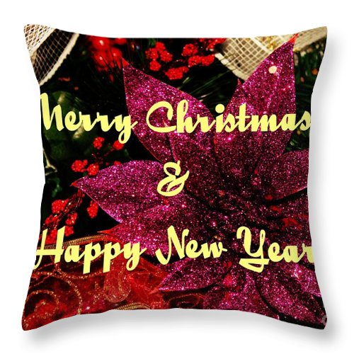 Merry Christmas With Purple Poinsettia Throw Pillow featuring the photograph Merry Christmas With Purple Poinsettia by Barbara Griffin