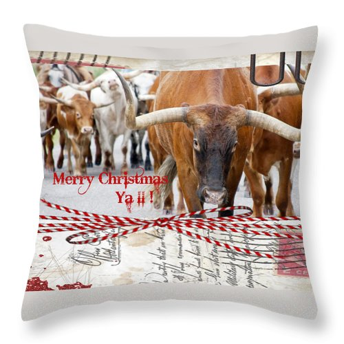 Merry Christmas Throw Pillow featuring the photograph Longhorns Merry Christmas Ya'll by Toni Hopper