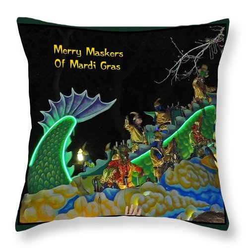 Digital Art Throw Pillow featuring the photograph Merry Maskers Of Mardi Gras by Marian Bell