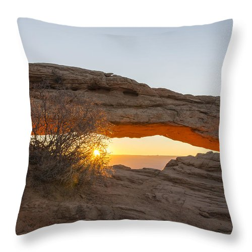 Mesa Arch Sunrise Canyonlands National Park Moab Utah Throw Pillow featuring the photograph Mesa Arch Sunrise 3 - Canyonlands National Park - Moab Utah by Brian Harig