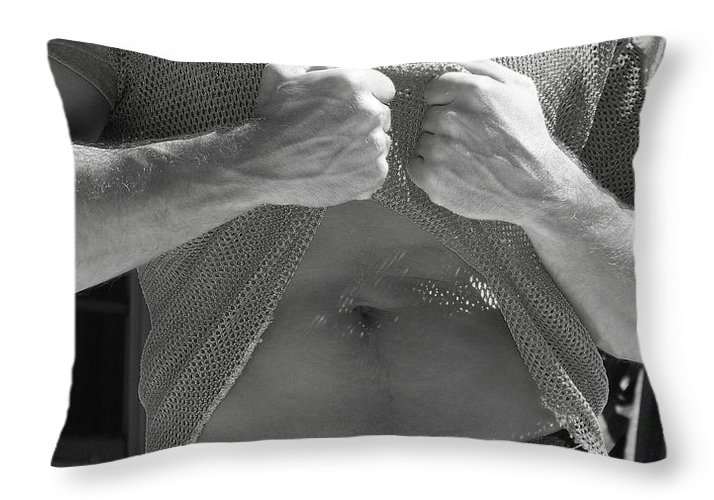 B&w Male Throw Pillow featuring the photograph Mesh Shirt Black And White by Gary F
