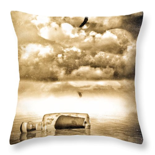 Seascape Throw Pillow featuring the photograph Message In A Bottle by Bob Orsillo