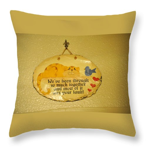 Sign Throw Pillow featuring the photograph Message Of Love by Jay Milo