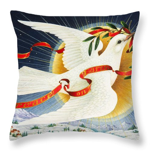Christmas Card Throw Pillow featuring the painting Messenger Of Peace by Lynn Bywaters