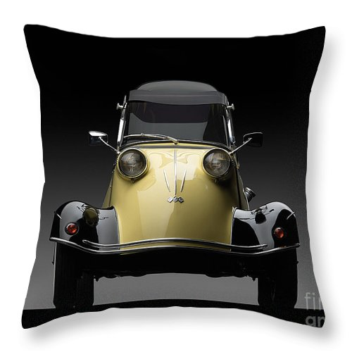 1957 Messerschmitt Photographs Mixed Media Throw Pillow featuring the mixed media Messerschmitt 1957 by Marvin Blaine