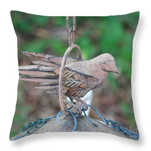 Metal Throw Pillow featuring the photograph Metal Birdfeeder 2 by Cynthia Snyder