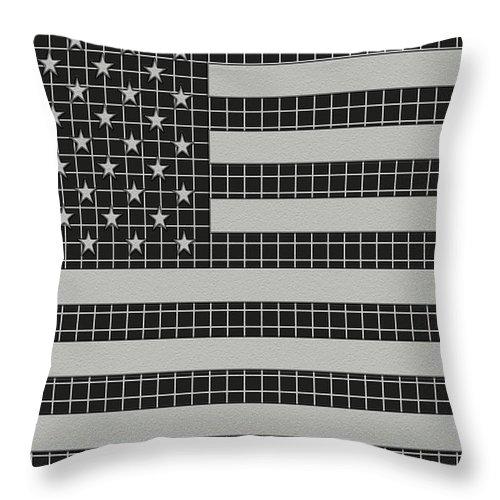 Usa Throw Pillow featuring the digital art Metal Mesh Usa Flag by David G Paul