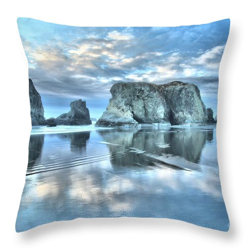 Bandon Beach Throw Pillow featuring the photograph Metallic Cloud Reflections by Adam Jewell