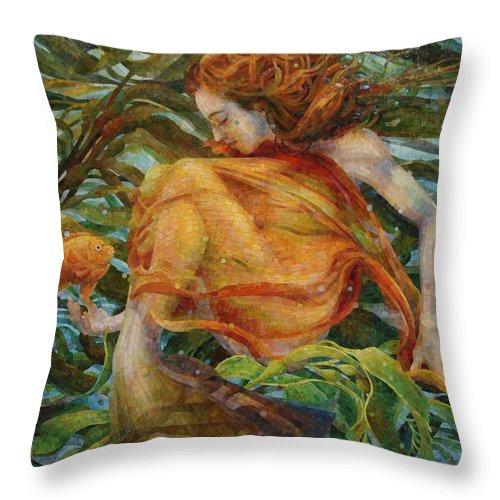 Landscape Throw Pillow featuring the painting Metamorphosis by Mia Tavonatti