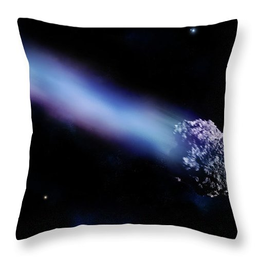 Comet Throw Pillow featuring the digital art Meteor With Colorful Tail by Maciej Frolow
