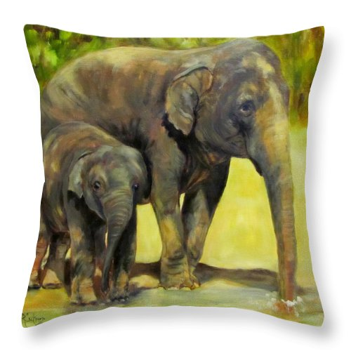 Elephant Throw Pillow featuring the painting Thirsty, Methai And Baylor, Elephants by Sandra Reeves
