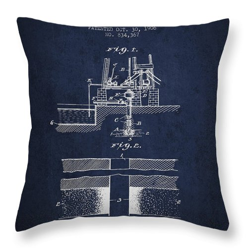 Oil Throw Pillow featuring the digital art Method Of Drilling Wells Patent From 1906 - Navy Blue by Aged Pixel