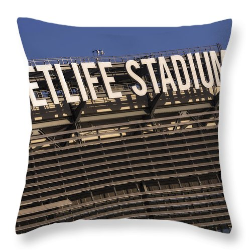 Metlife Stadium Throw Pillow featuring the photograph Metlife Stadium by Susan Candelario