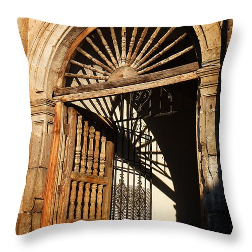 North America Throw Pillow featuring the photograph Mexican Door 27 by Xueling Zou