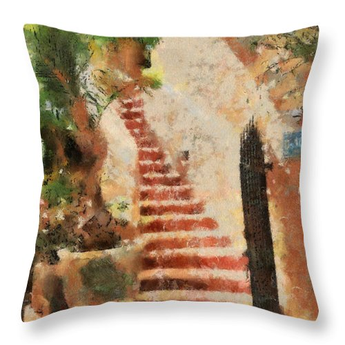 Stairs Throw Pillow featuring the digital art Mexican Impression by Teresa Zieba