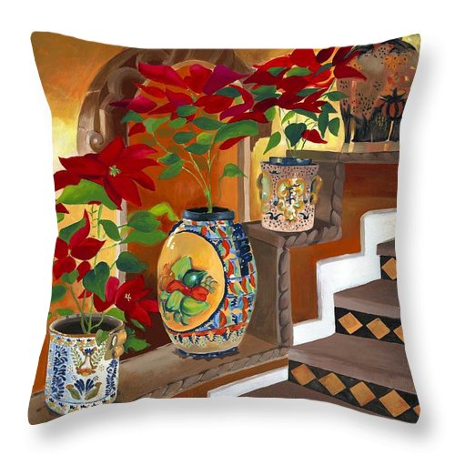 Mexican Pottery Throw Pillow featuring the painting Mexican Pottery On Staircase by Judy Swerlick