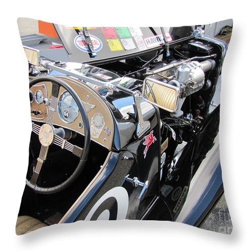 Racer Throw Pillow featuring the photograph Mg Tc In Paddock by Neil Zimmerman