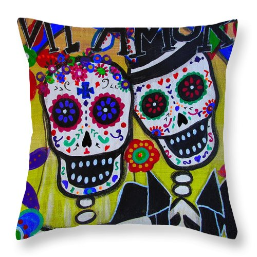 Wedding Throw Pillow featuring the painting Mi Amor Dia De Los Muertos Wedding by Pristine Cartera Turkus