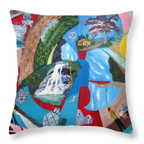 Puerto Rico Throw Pillow featuring the painting Mi Cultura Boricua by Luis F Rodriguez