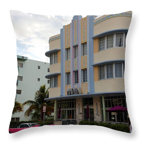 Architectural Throw Pillow featuring the photograph Miami Art Deco by Jannis Werner