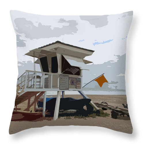 Lifeguard Station Throw Pillow featuring the photograph Miami Beach Lifeguard Station II Abstract by Christiane Schulze Art And Photography