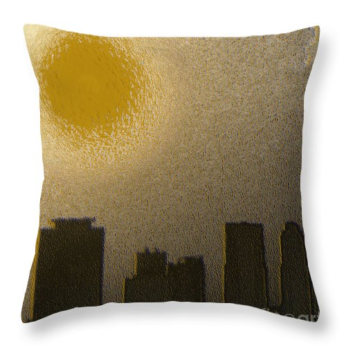Abstract Art Throw Pillow featuring the digital art Miami by Maria Julia Bastias