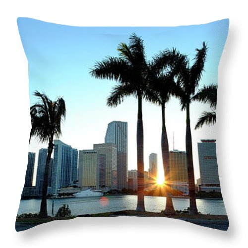 Downtown District Throw Pillow featuring the photograph Miami Skyline Viewed Over Marina by Travelpix Ltd