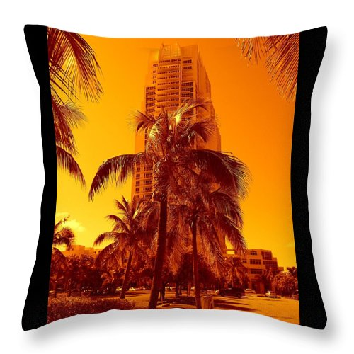 City Usa Prints Throw Pillow featuring the photograph Miami South Pointe Iv by Monique's Fine Art