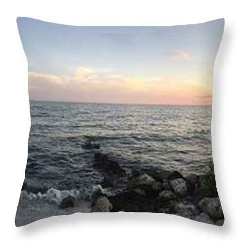 Miami Throw Pillow featuring the photograph Miami Sunset by Cassandra Cardenas