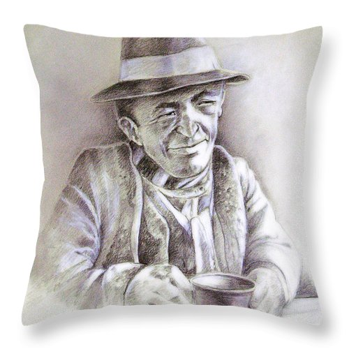 Portrait Michael Anderson Throw Pillow featuring the painting Michael J Anderson by Miki De Goodaboom