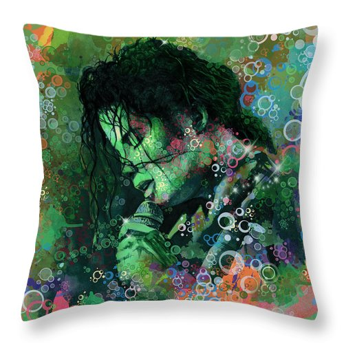 Michael Jackson Throw Pillow featuring the painting Michael Jackson 15 by Bekim M