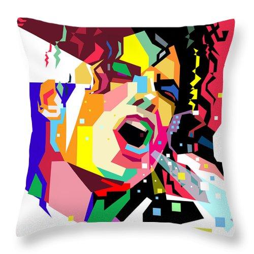 Singing Throw Pillow featuring the digital art Michael Jackson singing on WPAP by Ahmad Nusyirwan