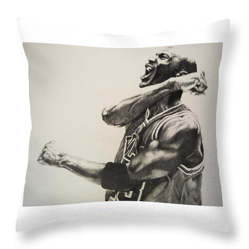 Michael Throw Pillow featuring the drawing Michael Jordan by Jake Stapleton