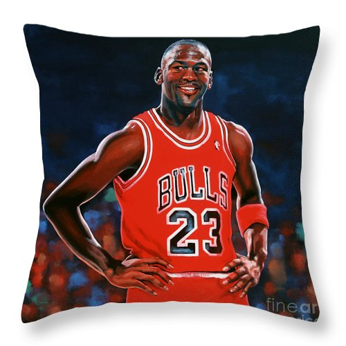 Michael Jordan Throw Pillow featuring the painting Michael Jordan by Paul Meijering