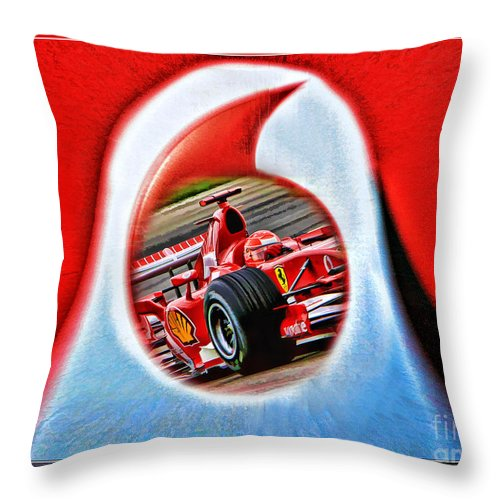 Formula One Photographs Digital Art Throw Pillow featuring the photograph Michael Schumacher Though The Logo by Blake Richards