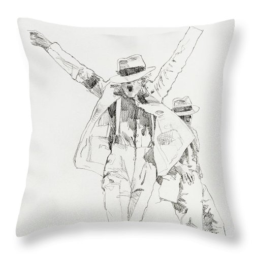 Michael Jackson Throw Pillow featuring the drawing Michael Smooth Criminal by David Lloyd Glover