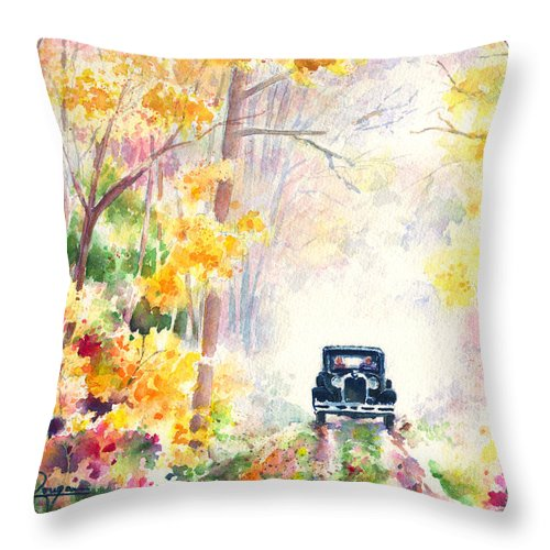 Fall Throw Pillow featuring the painting Michigan Backroads by John Dougan
