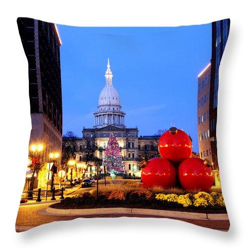 Michigan Throw Pillow featuring the photograph Michigan Capital by John McGraw