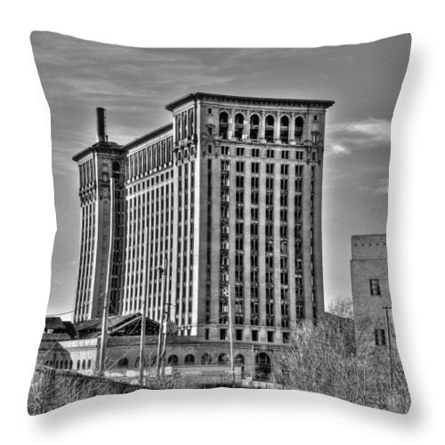 Michigan Central Throw Pillow featuring the photograph Michigan Central Station by Nicholas Grunas