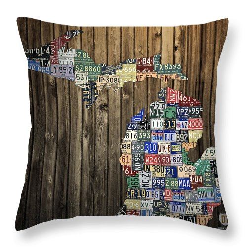 Michigan Throw Pillow featuring the mixed media Michigan Counties State License Plate Map by Design Turnpike