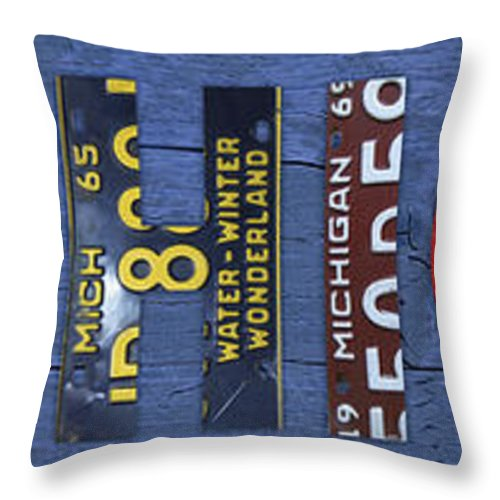 Michigan Throw Pillow featuring the mixed media Michigan License Plate Art Lettering by Design Turnpike