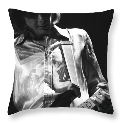 Mick Ralphs Throw Pillow featuring the photograph Mick In Spokane 1977 by Ben Upham