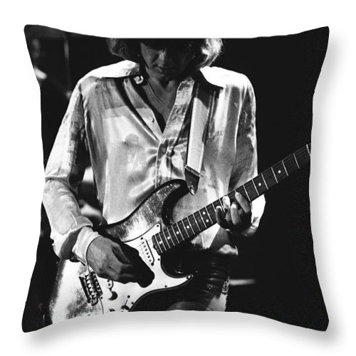 Mick Ralphs Throw Pillow featuring the photograph Mick On Guitar 1977 by Ben Upham