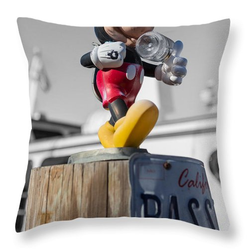 Mickey Mouse Throw Pillow featuring the photograph Mickey On A Post by Scott Campbell