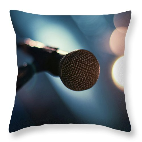 Microphone Stand Throw Pillow featuring the photograph Microphone Abstract Close Up In Concert by Alexandre Moreau