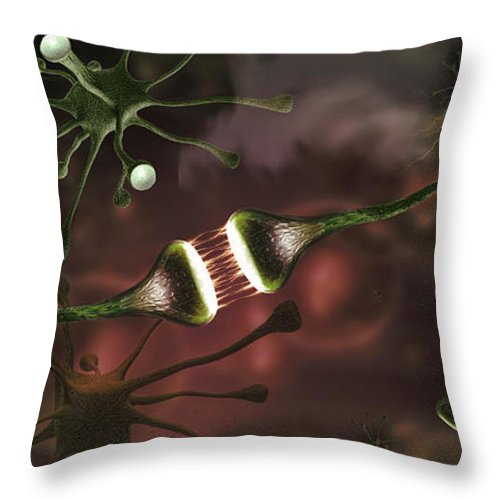 Photography Throw Pillow featuring the photograph Microscopic Image Of Brain Neurons by Panoramic Images