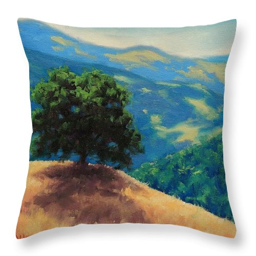 Golden Hills Throw Pillow featuring the painting Mid Day On Golden Hills by Steven Guy Bilodeau